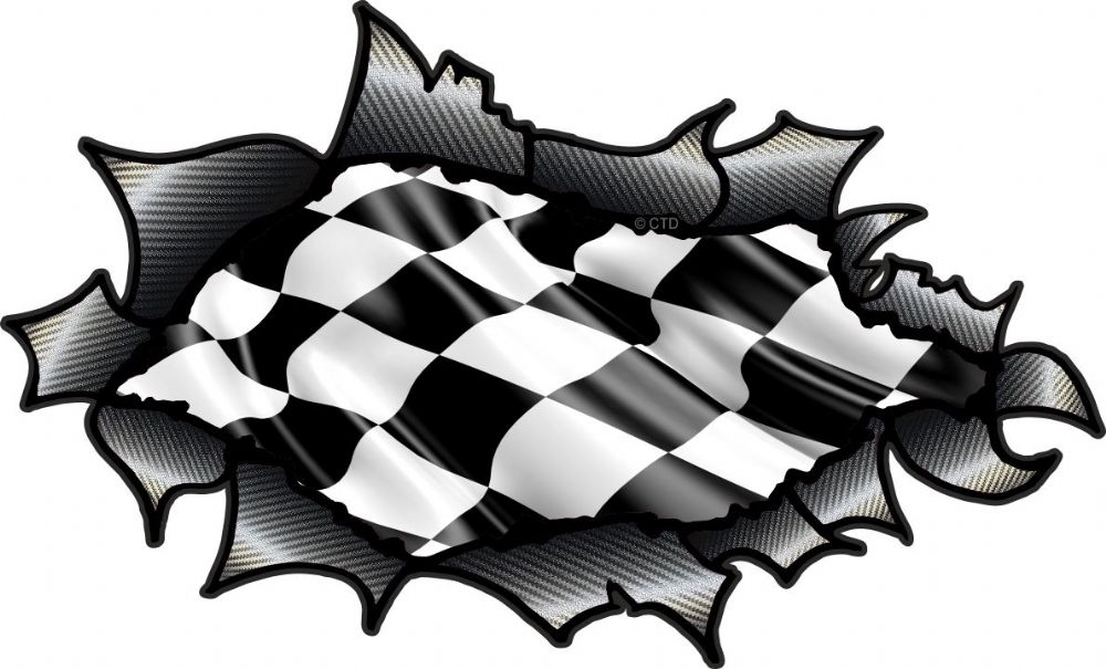 Car With Jdm Stickers Wallpaper Ripped Torn Carbon Fibre Fiber Design With Chequered